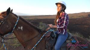 After the horseback ride her panties have your cum on them